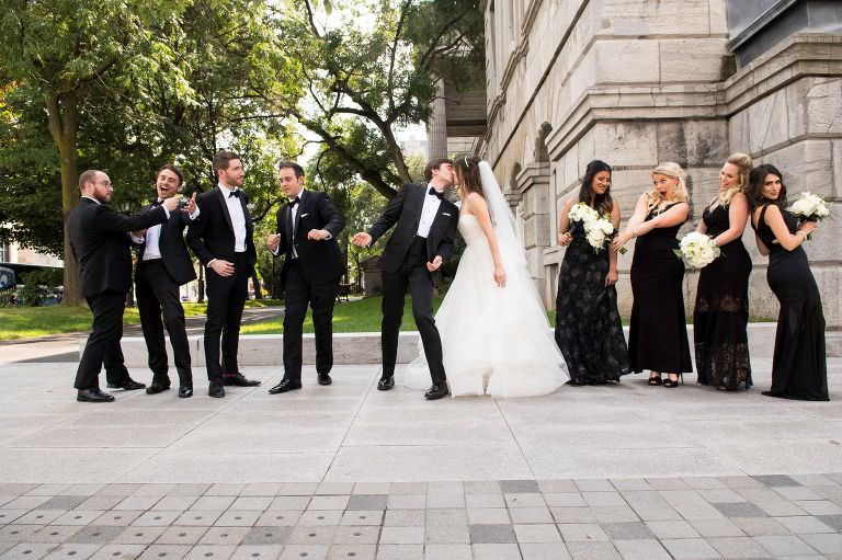 phil stasiak daria denissovna bride russian jewish montreal wedding bridesmaids groomsmen black white style trendy