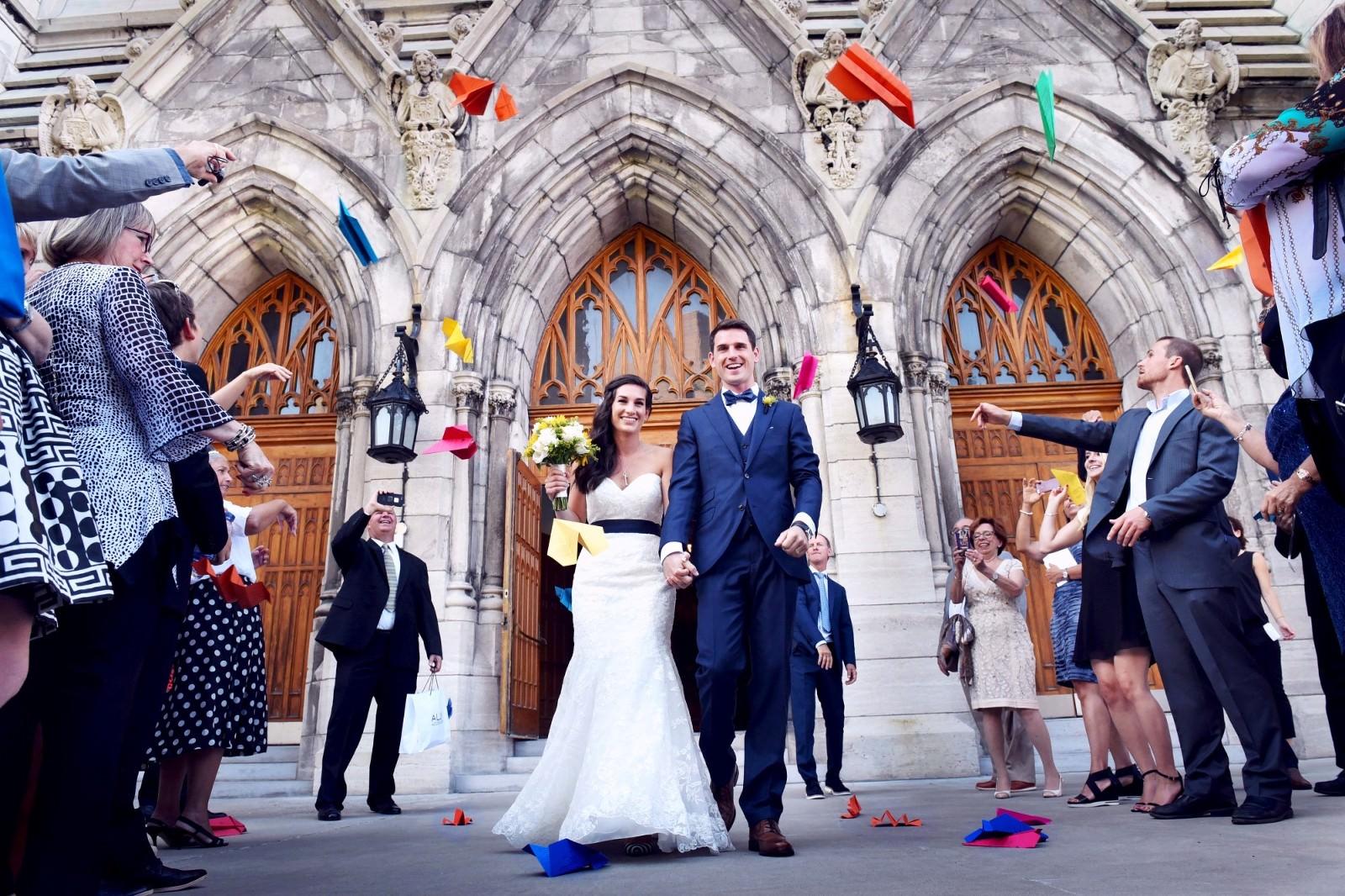 valerie wayne bright paper airplanes cute american french couple love Paroisse Saint Viateur Outremont montreal wedding photographer photo