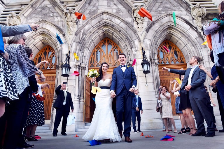 valerie wayne bright paper airplanes cute american french couple love Paroisse Saint Viateur Outremont montreal wedding photographer photo