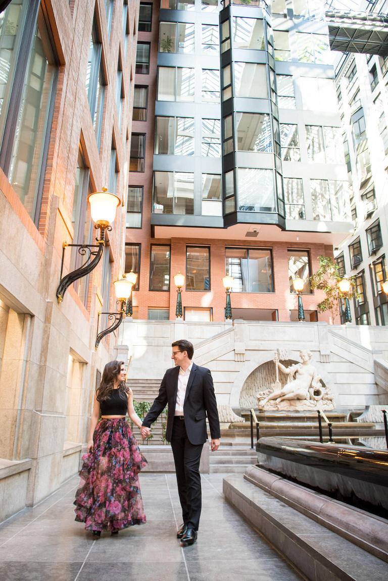 marie france vincent casual engagement shoot intercontinental hotel montreal world trade center walking water
