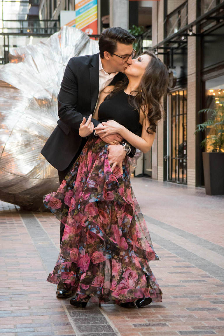 marie france vincent casual engagement shoot intercontinental hotel montreal world trade center kissing