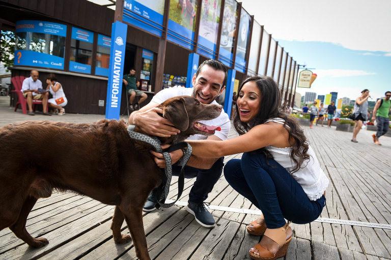caroline argalgi jeremy cohen dog atwater market park casual shoot session engagement jewish summer animal happy