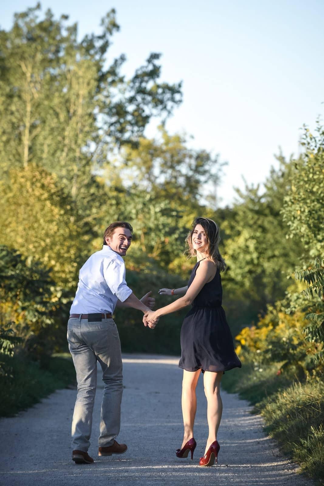 daria denissovna phil stasiak romantic session couple evergreen brick works engagement shoot running