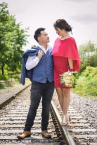 michelle evan couple engagement session casual style stylish love montreal rails alain simon fleurs dress suit asian prewedding photoshoot